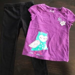 Outfit: Embroidered Owl Shirt Leggings Set